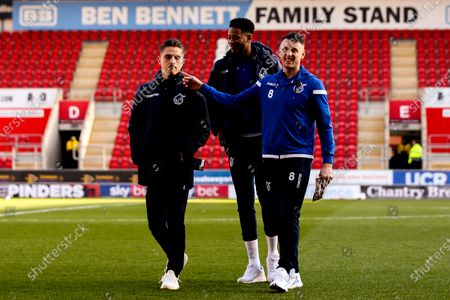 Ollie Clarke, Tom Nichols and Alexis Andre of Bristol Rovers