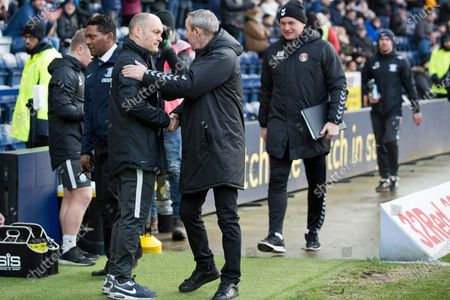 Preston North End manager Alex Neil and Charlton Athletic manager Lee Bowyer shaking hands before the EFL Sky Bet Championship match between Preston North End and Charlton Athletic at Deepdale, Preston