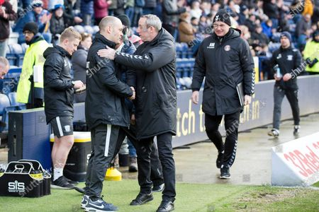 Stock Picture of Preston North End manager Alex Neil and Charlton Athletic manager Lee Bowyer shaking hands before the EFL Sky Bet Championship match between Preston North End and Charlton Athletic at Deepdale, Preston