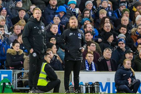 Graham Potter, Head Coach of Brighton & Hove Albion FC & Billy Reid, Assistant Manager of Brighton & Hove Albion FC during the Premier League match between Brighton and Hove Albion and Aston Villa at the American Express Community Stadium, Brighton and Hove