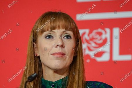 Labour MP and deputy leadership contender Angela Rayner looks on  at a Labour Party leadership hustings at King's Dock Arena in Liverpool.