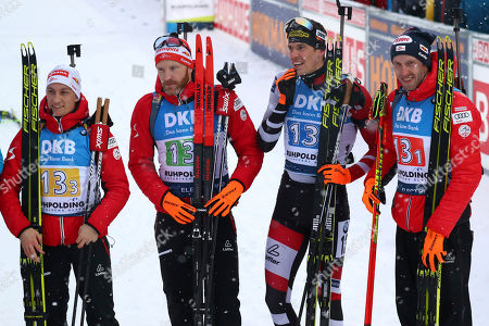 Felix Leitner of Austria, from left, Simon Eder, Julian Eberhard and Dominik Landertinger pose after the men's 4x7.5 km relay competition at the biathlon World Cup in Ruhpolding, Germany, . Team Austria placed third