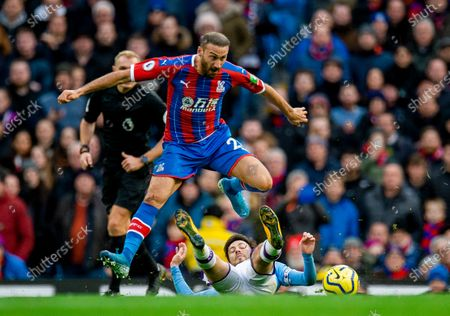 Crystal Palace's Cenk Tosun (L) in action with Manchester City's David Silva (R) during the English Premier League soccer match between Manchester City and Crystal Palace at Etihad Stadium, Manchester, Britain, 18 January 2020.