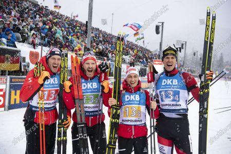 Dominik Landertinger of Austria, Simon Eder of Austria, Felix Leitner of Austria and Julian Eberhard of Austria celebrate after the men's 4x7,5 km relay race at the IBU Biathlon World Cup in Ruhpolding, Germany, 18 January 2020.