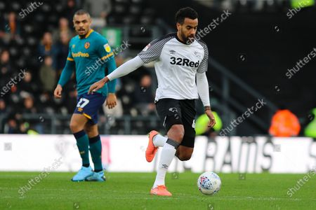 Stock Picture of Derby County midfielder Tom Huddlestone during the EFL Sky Bet Championship match between Derby County and Hull City at the Pride Park, Derby
