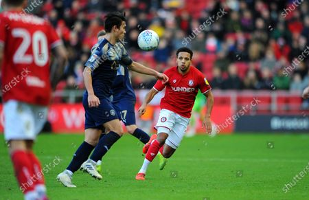 Korey Smith of Bristol City applies pressure on Kenny Dougall of Barnsley-Mandatory by-line: Nizaam Jones/JMP