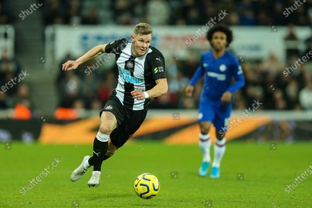 Stock Picture of Emil Krafth (#17) of Newcastle United in the ball during the Premier League match between Newcastle United and Chelsea at St. James's Park, Newcastle