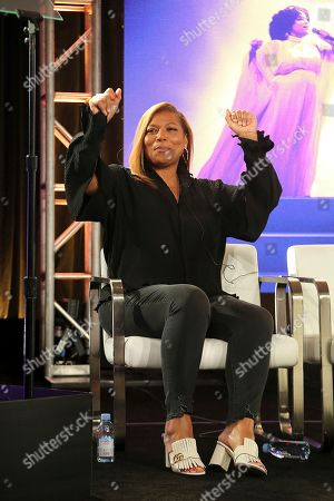 """Queen Latifah dances as Shelea Frazier, Christina Bell, Kierra Sheard, Angela Birchett and Raven Goodwin, perform live onstage following the Lifetime's """"The Clark Sisters: First Ladies of Gospel"""" panel during the A&E Networks TCA 2020 Winter Press Tour at the Langham Huntington, in Pasadena, Calif"""