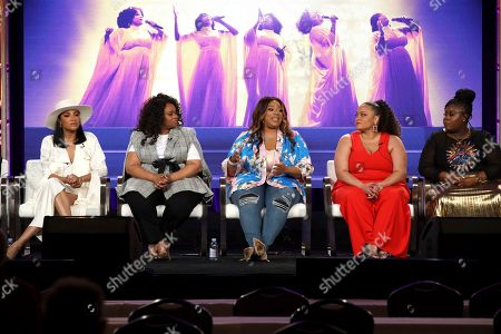 """Shelea Frazier, Christina Bell, Kierra Sheard, Angela Birchett, Raven Goodwin. Shelea Frazier, from left, Christina Bell, Kierra Sheard, Angela Birchett and Raven Goodwin, all members of the cast speak at the Lifetime's """"The Clark Sisters: First Ladies of Gospel"""" panel during the A&E Networks TCA 2020 Winter Press Tour at the Langham Huntington, in Pasadena, Calif"""