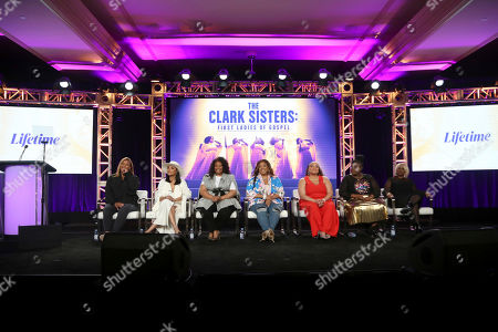 "Queen Latifah, Shelea Frazier, Christina Bell, Kierra Sheard, Angela Birchett, Raven Goodwin, Holly Carter. Queen Latifah, from left, Shelea Frazier, Christina Bell, Kierra Sheard, Angela Birchett, Raven Goodwin and Holly Carter speak at the Lifetime's ""The Clark Sisters: First Ladies of Gospel"" panel during the A&E Networks TCA 2020 Winter Press Tour at the Langham Huntington, in Pasadena, Calif"