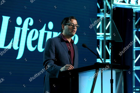 "President, Programming A+E Networks Rob Sharenow speaks at the Lifetime's ""Supernanny"" panel during the A&E Networks TCA 2020 Winter Press Tour at the Langham Huntington, in Pasadena, Calif"