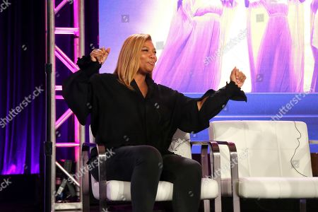 """Queen Latifah dances as Shelea Frazier, Christina Bell, Kierra Sheard, Angela Birchett and Raven Goodwin, perform live on stage following the Lifetime's """"The Clark Sisters: First Ladies of Gospel"""" panel during the A&E Networks TCA 2020 Winter Press Tour at the Langham Huntington, in Pasadena, Calif"""
