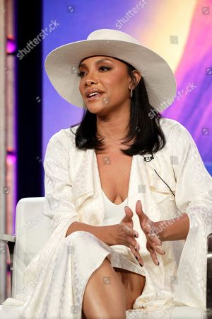 """Shelea Frazier speaks at the Lifetime's """"The Clark Sisters: First Ladies of Gospel"""" panel during the A&E Networks TCA 2020 Winter Press Tour at the Langham Huntington, in Pasadena, Calif"""