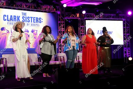 """Shelea Frazier, Christina Bell, Kierra Sheard, Angela Birchett, Raven Goodwin. Shelea Frazier, from left, Christina Bell, Kierra Sheard, Angela Birchett and Raven Goodwin perform live on stage following the Lifetime's """"The Clark Sisters: First Ladies of Gospel"""" panel during the A&E Networks TCA 2020 Winter Press Tour at the Langham Huntington, in Pasadena, Calif"""