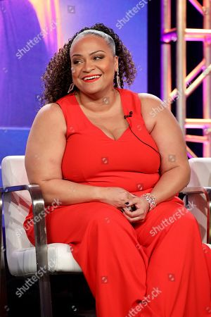 """Raven Goodwin speaks at the Lifetime's """"The Clark Sisters: First Ladies of Gospel"""" panel during the A&E Networks TCA 2020 Winter Press Tour at the Langham Huntington, in Pasadena, Calif"""