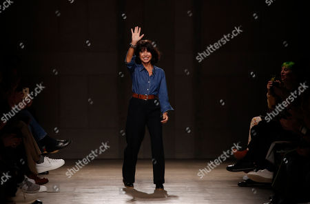 Stock Image of Designer Veronique Nichanian accepts applause after the Hermes Mens Fall/Winter 2020-2021 fashion collection presented in Paris