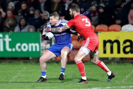 Monaghan vs Tyrone. Monaghan's Keith McEnaney with Ronan McNamee. of Tyron