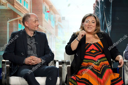 """Dan Peirson, Jo Frost. Dan Peirson, left, and Supernanny Jo Frost speak at the Lifetime's """"Supernanny"""" panel during the A&E Networks TCA 2020 Winter Press Tour at the Langham Huntington, in Pasadena, Calif"""