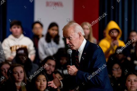 Stock Image of Democratic presidential candidate former Vice President Joe Biden speaks at a campaign stop at Simpson College, in Indianola, Iowa