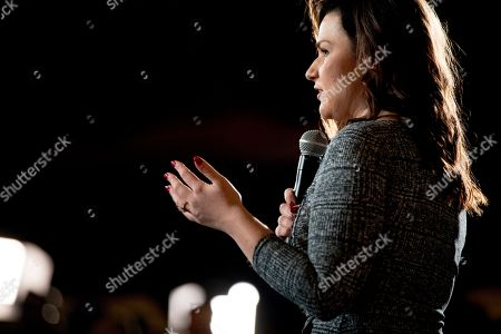 Rep. Abby Finkenauer, D-Iowa, speaks before welcoming Democratic presidential candidate former Vice President Joe Biden to the floor during a campaign stop at Simpson College, in Indianola, Iowa