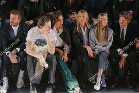 David Beckham, Brooklyn Beckham, Victoria Beckham, Kate Moss, her daughter Lila Grace Moss Hack and Count Nikolai von Bismarck