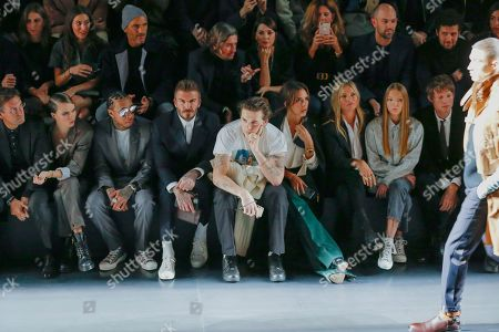 Stock Photo of Pietro Beccari, Cara Delevingne, Tyga, David Beckham, Brooklyn Beckham, Victoria Beckham, Kate Moss, Lila Grace Moss Hack and Count Nikolai von Bismarck
