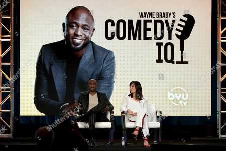 "Wayne Brady, Mandie Taketa. Wayne Brady, left, and Mandie Taketa speak at the ""Comedy IQ"" panel during the BYUtv TCA 2020 Winter Press Tour at the Langham Huntington, in Pasadena, Calif"