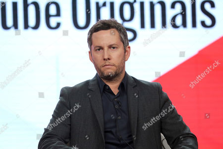 """Aaron Saidman speaks at the """"Untitled Paris Hilton Documentary"""" panel during the YouTube TCA 2020 Winter Press Tour at the Langham Huntington, in Pasadena, Calif"""