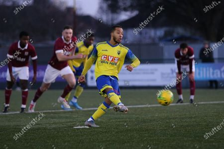 Roman Michael-Percil of Haringey scores from the penallty and celebrates during Haringey Borough vs Potters Bar Town, BetVictor League Premier Division Football at Coles Park Stadium on 18th January 2020