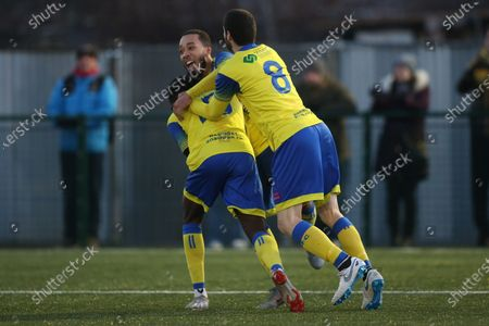 Stock Image of Roman Michael-Percil of Haringey scores from the penallty and celebrates during Haringey Borough vs Potters Bar Town, BetVictor League Premier Division Football at Coles Park Stadium on 18th January 2020