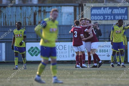 Ben Ward-Cochrane of Potters Bar scores and celebrates during Haringey Borough vs Potters Bar Town, BetVictor League Premier Division Football at Coles Park Stadium on 18th January 2020