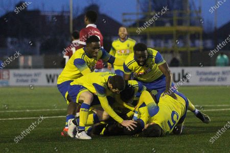 Rakim Richards of Haringey celebrates his winning goal during Haringey Borough vs Potters Bar Town, BetVictor League Premier Division Football at Coles Park Stadium on 18th January 2020