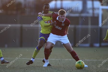 Stock Image of Rakim Richards of Haringey and Keegan Cole of Potters Bar during Haringey Borough vs Potters Bar Town, BetVictor League Premier Division Football at Coles Park Stadium on 18th January 2020