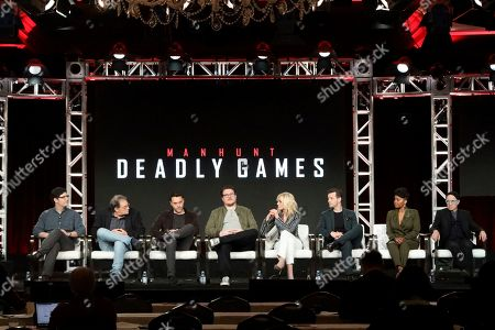 "Andrew Sodroski, Michael Dinner, Jack Huston, Cameron Britton, Judith Light, Gethin Anthony, Kelly Jenrette, Arliss Howard. Andrew Sodroski, from left, Michael Dinner, Jack Huston, Cameron Britton, Judith Light, Gethin Anthony, Kelly Jenrette and Arliss Howard speak at the ""Manhunt: Deadly Games"" panel during the Spectrum Originals/Lionsgate TCA 2020 Winter Press Tour at the Langham Huntington, in Pasadena, Calif"