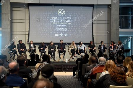Bong Joon Ho, Jane Rosenthal, David Heyman, Amy Pascal, Carthew Neal, Jenno Topping, Ram Bergman, Emma Tillinger Koskov, Noah Baumbach and Pippa Harris, Lucy Fisher. IMAGE DISTRIBUTED FOR PRODUCERS GUILD OF AMERICA - The 2020 PGA nominees, from left, Bong Joon Ho, Jane Rosenthal, David Heyman, Amy Pascal, Carthew Neal, Jenno Topping, Ram Bergman, Emma Tillinger Koskov, Noah Baumbach and Pippa Harris and PGA President Lucy Fisher attend the 31st Annual Producers Guild of America Nominees Breakfast at Skirball Cultural Center on in Los Angeles
