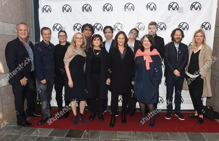 Bong Joon Ho, Jane Rosenthal, David Heyman, Amy Pascal, Carthew Neal, Jenno Topping, Ram Bergman, Emma Tillinger Koskov, Noah Baumbach, Pippa Harris, Lucy Fisher. IMAGE DISTRIBUTED FOR PRODUCERS GUILD OF AMERICA - The 2020 PGA nominees, Bong Joon Ho, Jane Rosenthal, David Heyman, Amy Pascal, Carthew Neal, Jenno Topping, Ram Bergman, Emma Tillinger Koskov, Noah Baumbach and Pippa Harris pose with PGA President Lucy Fisher and PGA National Executive Directors Vance Van Petten and Susan Sprung at the 31st Annual Producers Guild of America Nominees Breakfast at Skirball Cultural Center on in Los Angeles