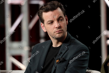 """Gethin Anthony speaks at the """"Manhunt: Deadly Games"""" panel during the Spectrum Originals/Lionsgate TCA 2020 Winter Press Tour at the Langham Huntington, in Pasadena, Calif"""