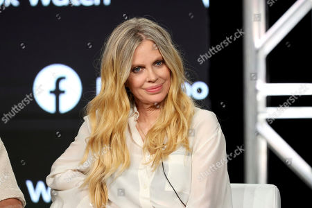 """Kristin Bauer speaks at the """"Sacred Lies: The Singing Bones"""" panel during the Blumhouse Television and Facebookl Watch TCA 2020 Winter Press Tour at the Langham Huntington, in Pasadena, Calif"""