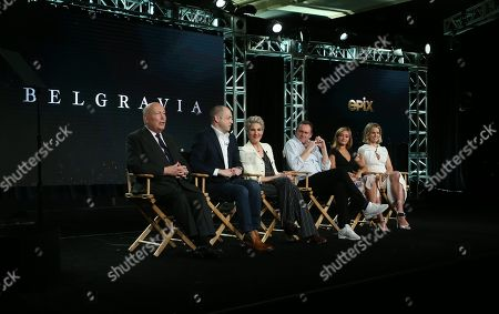 Julian Fellowes, Gareth Neame, Tamsin Greig, Philip Glenister, Ella Purnell and Alice Eve