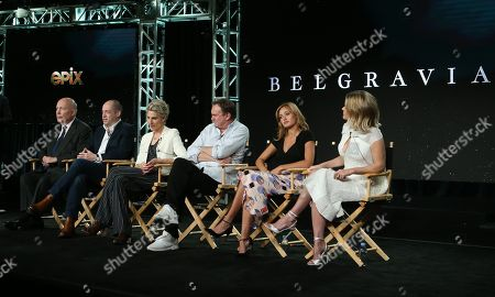 Stock Photo of Julian Fellowes, Gareth Neame, Tamsin Greig, Philip Glenister, Ella Purnell and Alice Eve
