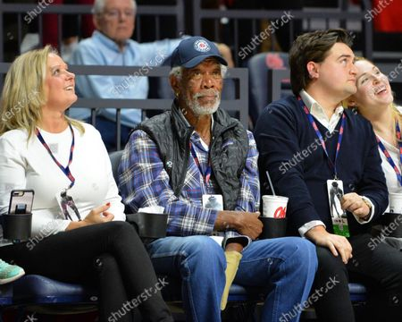 Morgan Freeman enjoys the NCAA basketball game between the LSU Tigers and the Ole' Miss Rebels at The Pavillion in Oxford, MS. Kevin Langley/Sports South Media/CSM