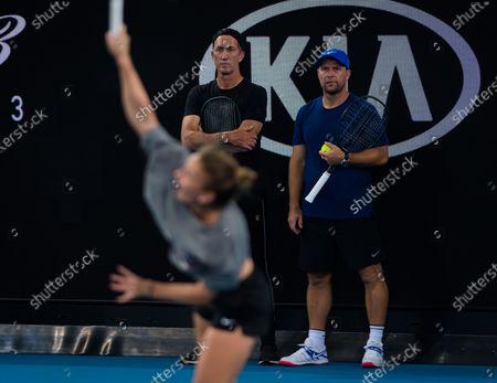 Darren Cahill during practice at the 2020 Australian Open Grand Slam tennis tournament