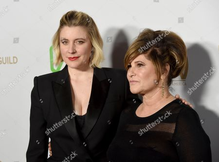 Greta Gerwig, Amy Pascal. Greta Gerwig, left, and Amy Pascal arrive at the 2020 Producers Guild Awards at the Hollywood Palladium, in Los Angeles, Calif