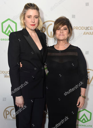 Greta Gerwig, Amy Pascal. Greta Gerwig, left, and Amy Pascal arrive at the 31st Annual Producers Guild Awards at the Hollywood Palladium, in Los Angeles