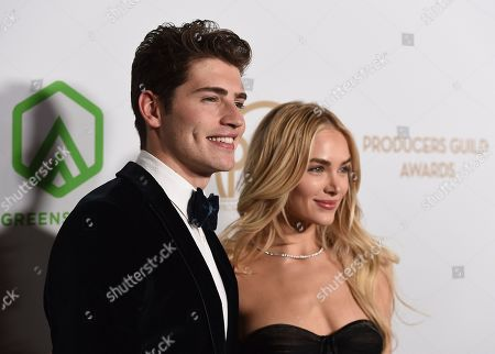 Gregg Sulkin, Michelle Randolph. Gregg Sulkin, left, and Michelle Randolph arrive at the 31st Annual Producers Guild Awards at the Hollywood Palladium, in Los Angeles