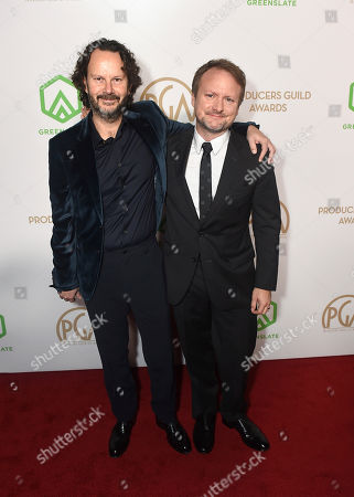 Ram Bergman, Rian Johnson. Ram Bergman, left, and Rian Johnson arrive at the 31st Annual Producers Guild Awards at the Hollywood Palladium, in Los Angeles