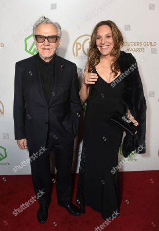 Harvey Keitel, Daphna Kastner. Harvey Keitel, left, and Daphna Kastner arrive at the 31st Annual Producers Guild Awards at the Hollywood Palladium, in Los Angeles
