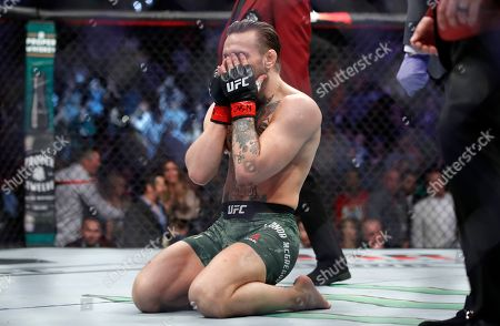 """Conor McGregor reacts to his win over Donald """"Cowboy"""" Cerrone during a UFC 246 welterweight mixed martial arts bout, in Las Vegas"""