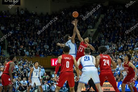 Duke Forward Justin Robinson (50) and Louisville Forward Jordan Nwora (33) tip-off during the NCAA Basketball game between the Louisville Cardinals and Duke Blue Devils at Cameron Indoor Stadium in Durham, NC. Brian McWaltersCSM