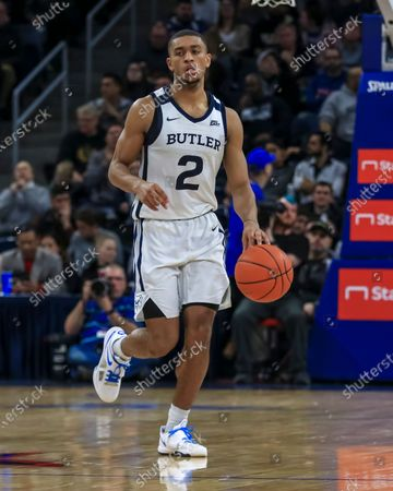 Saturday  - Butler Bulldogs guard Aaron Thompson (2)brings the ball down court during the NCAA game between the Butler Bulldogs and the DePaul University Blue Demons at Wintrust Arena in Chicago IL. Gary E